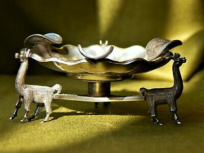 A Rare Antique Peruvian Silver Coins Cigars Ashtray
