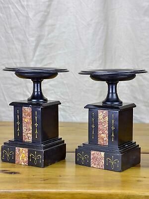 Pair of black stone and marble mantle piece vide poche