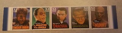 US MNH Postage Stamps Scott #3168 - #3172 Classic Movie Monsters 32c  FV $1.60