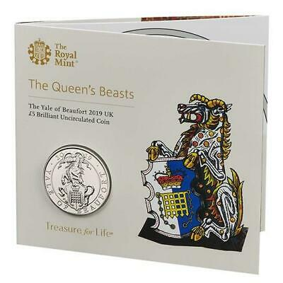 2019 Queens Beasts The Yale Of Beaufort BU £5 Five Pound Royal Mint Coin Pack