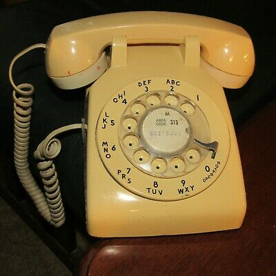 Vintage Yellow Rotary Desk Telephone Bell System By Western Electric