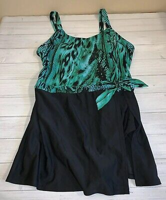 037141d5e9cad Jaclyn Smith Womens Trendy Bathing Suit Swimsuit Skirt 16 Green Black