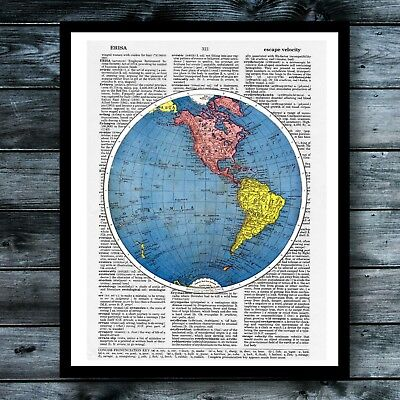 Map Vintage Dictionary Art Print Travel Poster Book Page Wall Home Office Decor