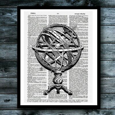 Globe Vintage Dictionary Art Print Travel Poster Book Page Home Office Decor