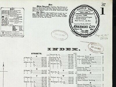 Arkansas City, Kansas~Sanborn Map© sheet 1899 with 7 maps in color on a CD
