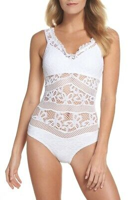 3ae78bddfad33 Becca by Rebecca Virtue Captured Crochet Sz. Large One Piece Swimsuit 150106