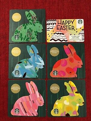 6 New Starbucks 2019 Easter Bunny Die Cut Gift Cards Lot **presale** Ships 3/26