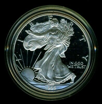 1999-P United States American Silver Eagle Dollar w/ Box & CoA PROOF