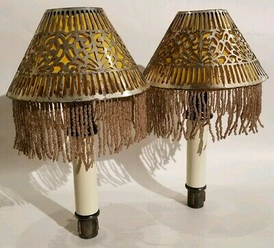 Gorham Candle Holders Original Beaded liners and Reticulated Shades Silver Plate