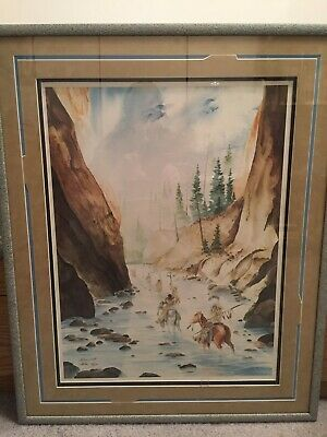 Vintage Beautiful CHEBON DACON NATIVE AMERICAN - Traditions - Signed - Framed