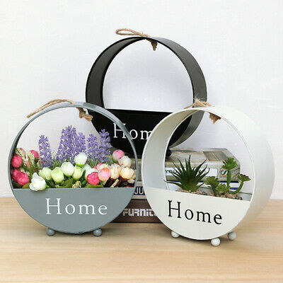 New Nordic Wrought Iron Wall Hanging Floral Basket Round Flower Pot Wall Mount