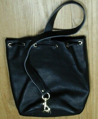 3e5af84d0e8a CARLA MARCHI Italy Italian Black Leather Hobo Bucket Shoulder Handbag Bag  Purse