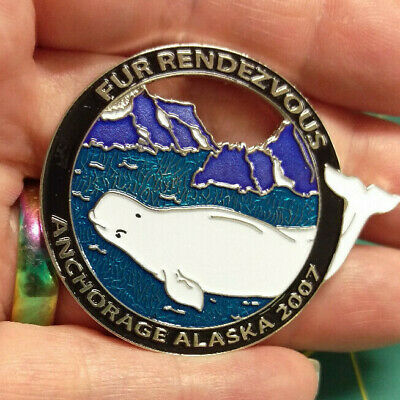 2007 Anchorage Alaska Fur Rondy Rendezvous LARGE Collector Pin Beluga Whale Pin