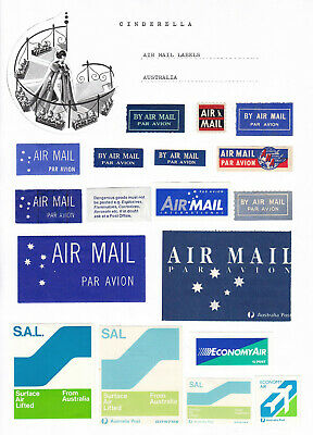 Australia and Worldwide - Air Mail labels (60+ cinderella collection)
