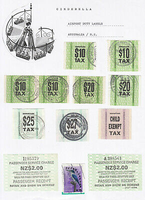 Australia and NZ - AIRPORT DUTY STAMPS (DUTY TAX cinderella collection)