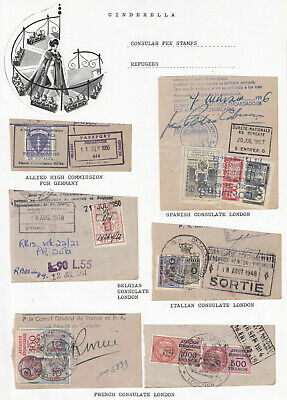 Worldwide - CONSULAR FEE STAMPS / LABELS (20+ cinderella collection)