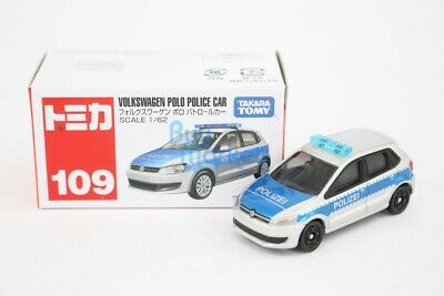 Takara Tomy Tomica #109 Volkswagen POLO Patrol Police Scale 1/62 Diecast Toy Car