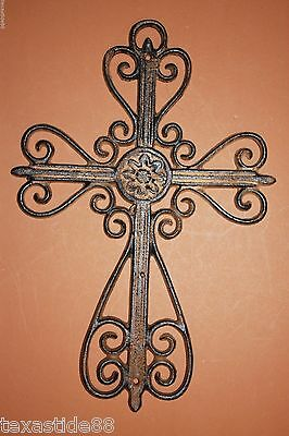 "(1) Elegant Victorian Christian Cross Wall Decor 13 1/2"" Cast Iron Cross, C-43"