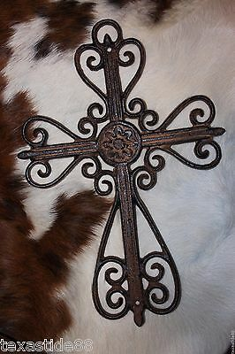 "(5) Elegant Victorian Cross Wall Hanging, 13 1/2"" Cast Iron Fancy Cross, C-43"