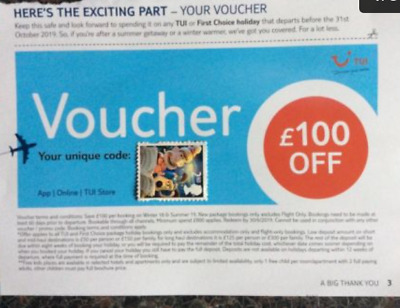 £100 Holiday Voucher - TUI - Thomson - BARGAIN!! Use online or in Travel Agent