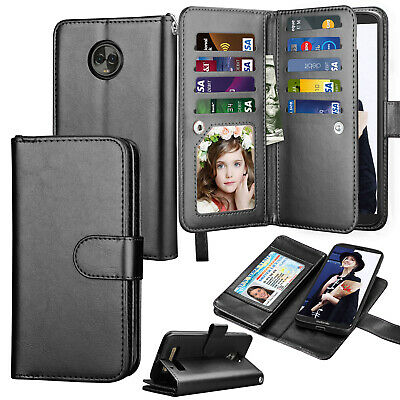 For Motorola Phone Wallet Flip Leather Case Card Holder Stand Protective Cover
