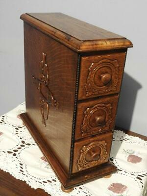 ANTIQUE TREADLE SEWING MACHINE CHEST OF DRAWERS CABINET JEWELLERY BOX SINGER 20s