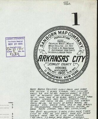Arkansas City, Kansas~Sanborn Map© sheet 1905 with 9 maps in color on a CD