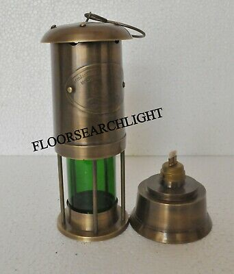 OIL LAMP 7 Inch Antique Ship Lantern Lamp Collectible Solid Brass Miner Glass