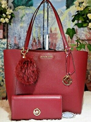 82a6eaa26bcb8c MICHAEL KORS KIMBERLY LG TOTE + WALLET + POM In MULBERRY Red Bonded Leather  $574