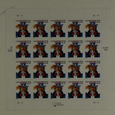 Us Scott 3259 Pane Of 20 Uncle Sam Stamps 22 Cent Face Mnh
