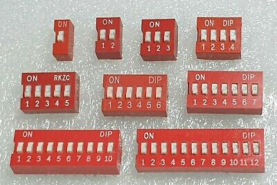 Dip Switch - Red - Choose from 1-12 Slide positions - 5,4 or 2 Pack - Free P&P