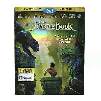 The Jungle Book (2016) Very Good Blu-ray + DVD w/ SLIPCOVER! Live-Action, Disney