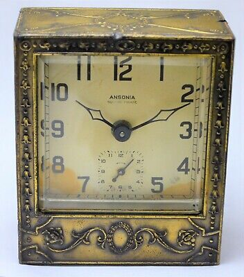 Vintage Ansonia Square Pirate Alarm Clock, Heavy Ornate 1920s Brass Clock, As Is