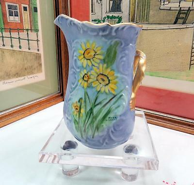 "Vintage Ceramic Heart Shaped Side Handle Signed Lavender & Daisy 6 1/2"" Pitcher"