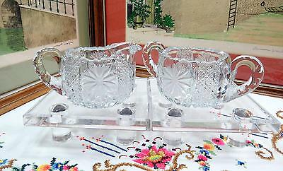 """Vintage Heavy Crystal Daisy And Button 3"""" Creamer And Sugar Set"""