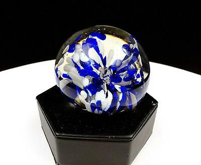 """Studio Art Glass Controlled Bubble Blue Spattered Floral 2 1/4"""" Paperweight"""