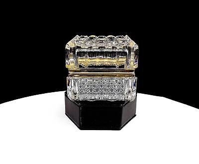 """French Cut Crystal Fluted Cane & Gold Tone 3"""" Hinged Dresser Box"""