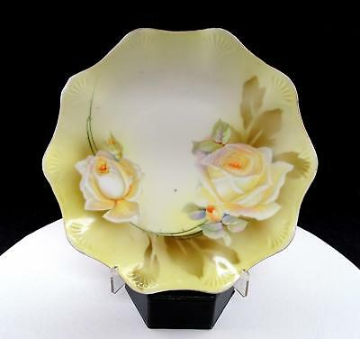 """Rs Prussia Yellow Roses Fan Embossed Scalloped Rim 7 7/8"""" Plate"""