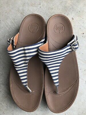f1edaef7f Fitflop The Skinny  550-003 blue striped toning wedge flip flops 11   43