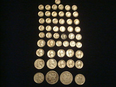 $10 Face Value Lot Of 90% Silver U.s. Coins Mixed Variety L1