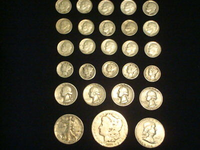 $5 Face Value Lot Of 90% Silver U.s. Coins Mixed Variety L6
