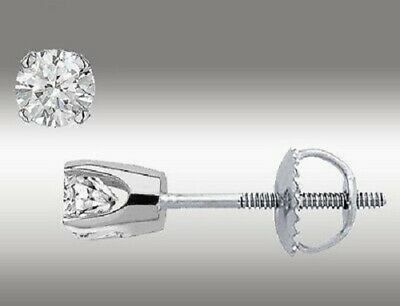 1 Ct Solitaire Stud Earrings Round-Cut 14K White Gold Fn Screw Back pierced Deal