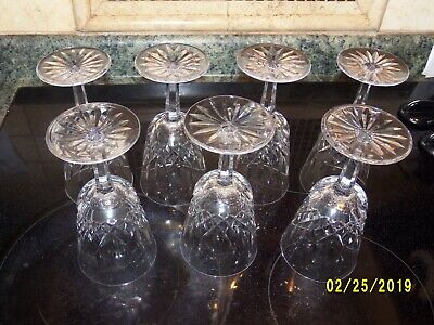 """Set of 7 Waterford Crystal """"Lismore"""" 10 oz Water Goblets 6-7/8"""" ~Made in Ireland"""