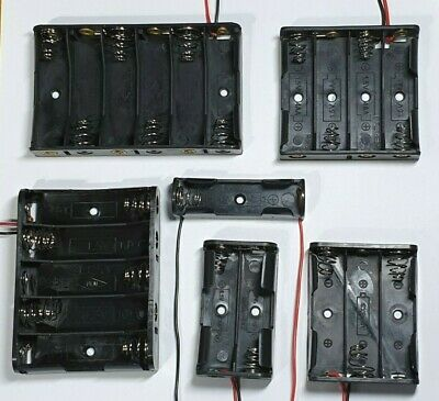 AA Battery Holder - Choose from 1-6 slots - 150mm lead wires - Free UK P&P