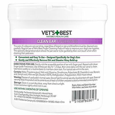 Vet's Best Ear Cleaning Pads for Dogs (Pack of 50) Easy Use Ear Cleansing debris