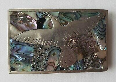 Vintage Mexican Alpaca Silver With Abalone Shell Belt Buckle With Flying Dove