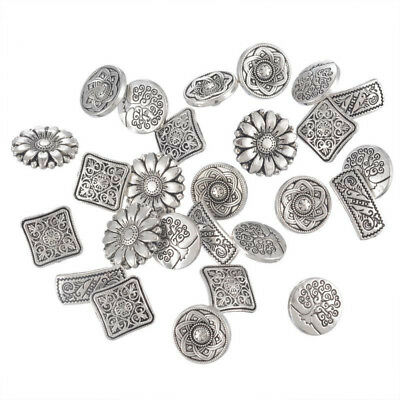 New 50pcs Silver Mixed Metal Shanked Pattern Flower Engraved Jeans Buttons