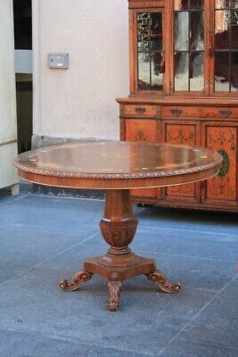 Table Round, First Half Of The '900, Briar Walnut, Inlaid / Table Round