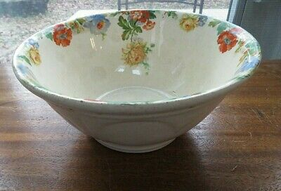 "Harker Pottery 9"" Mixing Bowl 1940 Cream Prairie Woman Blue Poppies DD4"