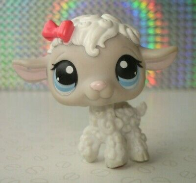 Hasbro Littlest Pet Shop #376 Grey & White Sheep Lamb Figure with Pink Bow